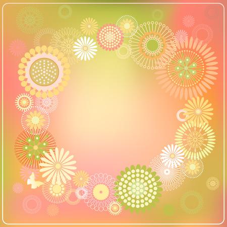 illustration of a round frame of flowers Illustration