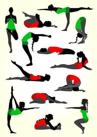illustration of a yoga silhouettes background in white