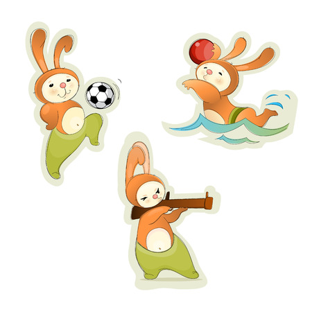 polo ball: illustration of a three sport hares