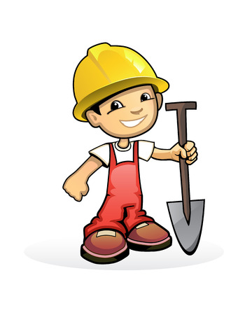 illustration of a builder with shovel Vectores