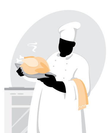 illustration of a cook with chicken