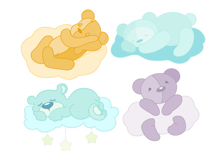 illustration of a four teddy bear set