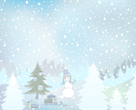 illustration of a snowman and snowy landscape