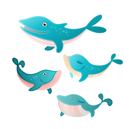 illustration of a four whales set