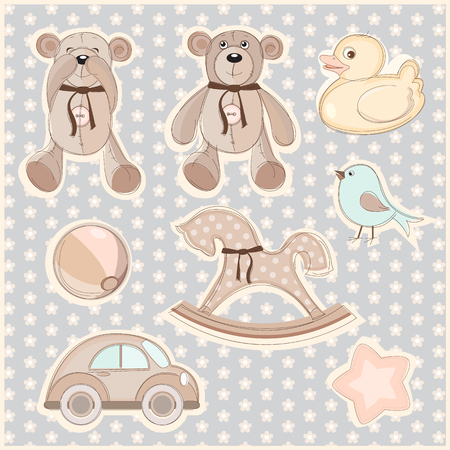 illustration of a set of children's toys