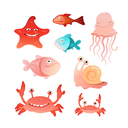 illustration of a collection of marine inhabitants