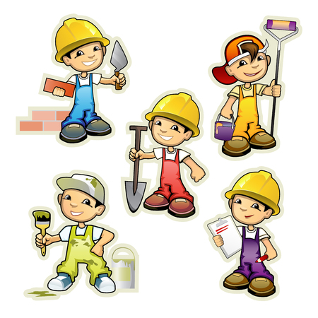 illustration of a five builders set Vectores