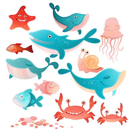 illustration of a sea inhabitants set