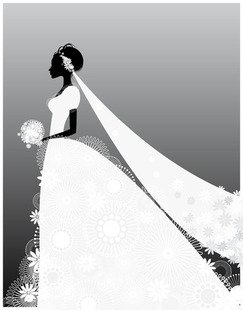 illustration of a bride in white dress Vectores