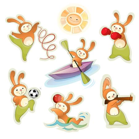 illustration of a sport hares set