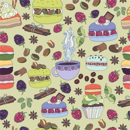 Pattern colorful macaroons and cakes Vector