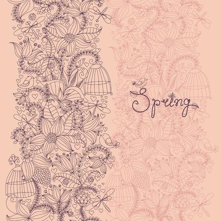 seamless texture: Nahtlose Textur mit Blumen und V�geln. Fr�hling Muster.