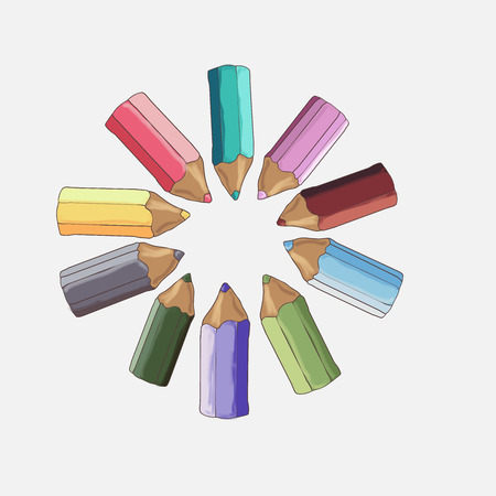 pensils: Set of colored pencils on a white background.