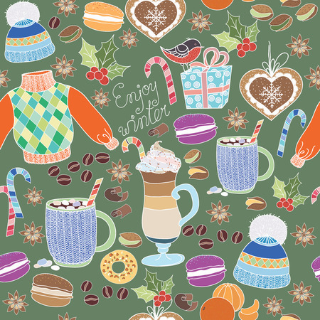 marshmallows: Vector Enjoy Winter collection. Set of winter holidays on colorful background. Seamless pattern with winter clothes, sweets, macaroons, latte, coffe mug and marshmallows. Enjoy Winter pattern. Illustration