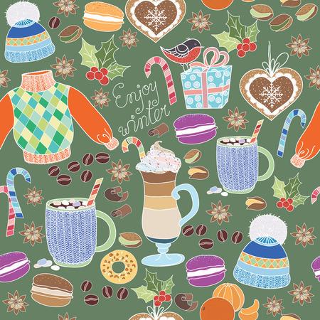 Illustraties Vector Geniet van de winter collectie. Set van wintervakanties op kleurrijke achtergrond. Naadloze patroon met winter kleding, snoep, bitterkoekjes, latte, koffie mok en marshmallows. Geniet van de winter patroon.