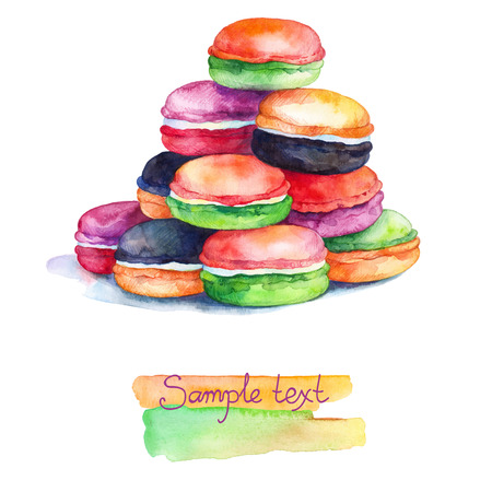 Dessert macaroons watercolor painting on white background with watercolors splashes. Colorful macaroons isolated. Beautiful card with painted colorful french dessert macaroons. Watercolors Painting.