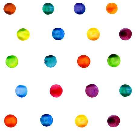 Vector watercolors circles pattern. Round shapes pattern. Colorful rounds shapes, watercolors shapes. Watercolors blobs. Watercolors painting. Illustration
