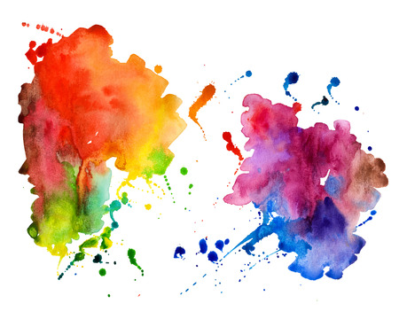 vibrant colours: Abstract hand drawn watercolor background,vector illustration. Watercolor composition for scrapbook elements. Watercolor shapes on white background.