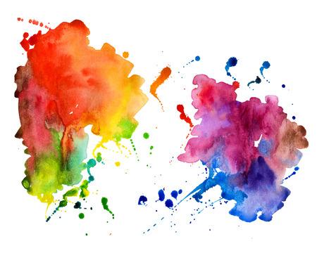 canlı renkli: Soyut El suluboya arka plan, vektör illüstrasyon çizilmiş. Çıkartma elemanları Sulu bileşim. Beyaz zemin üzerine suluboya şekiller.