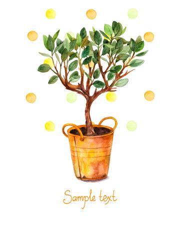 Árbol de la acuarela en una olla con toques de acuarela. Ilustración del vector. Tiempo de primavera. Tarjeta hermosa pintada árbol acuarela en bote de color amarillo.