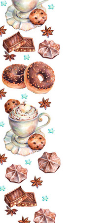 espreso: White cup of cappuccino with chocolate, chocolate donuts, marshmallows, chocolate cookies and anise. Chocolate sweets on white background. Watercolors background. Stock Photo