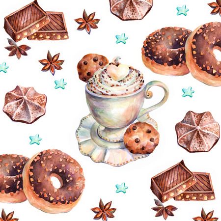White cup of cappuccino with chocolate, chocolate donuts, marshmallows, chocolate cookies and anise. Chocolate sweets on white background. Watercolors background. Stock Photo