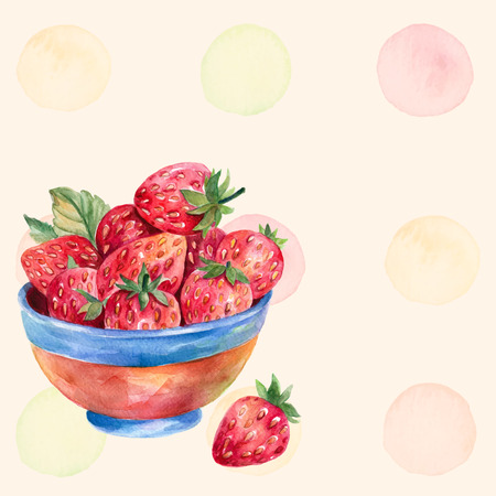 foodies: Watercolor strawberry in colored plate on yellow background with colorful splashes. Strawberry vector. Enjoy summer time. Beautiful postcard with strawberry.