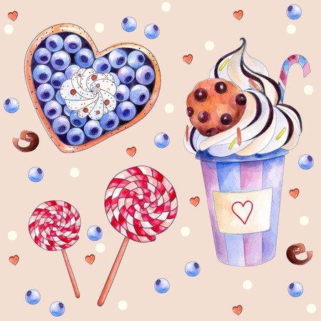 Vector illustration with colorful sweets: cake with blueberries and cream, hot chocolate with a chocolate cookies, red-white lollipops. Watercolors Painting. The elements for your design, Vector