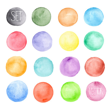 Vector watercolors pattern. Round shapes pattern. Painted ornament. Set of watercolor shapes. Watercolors blobs Çizim