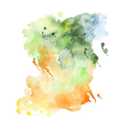 手描き水彩背景を抽象化、ベクトル イラスト。スクラップ ブック要素の水彩組成物。白い背景の水彩画の図形。
