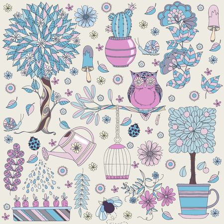 the sprouting: Texture with flowers, fruit tree, flowering tree, owl and insects. Floral pattern. Vector pattern with gardening tools. Spring time. Garden life. Illustration