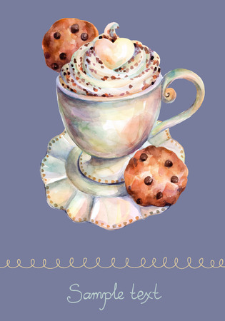 White cup of cappuccino with chocolate and chocolate cookies. Vector cup of cappuccino. Beautiful card painted watercolor. Illustration