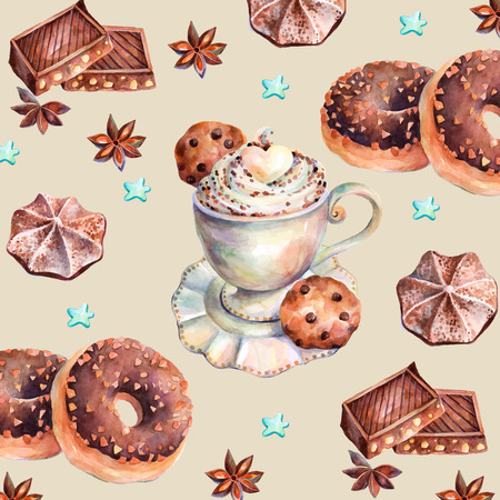 White cup of cappuccino with chocolate, chocolate donuts, marshmallows, chocolate cookies and anise. Vector Chocolate sweets .