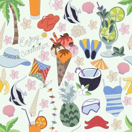 Vektor nahtlose Muster. Muster, Set verschiedener Sommer Sachen. Genießen Sie das Leben-Konzept. Genießen Sie Sommerzeit.