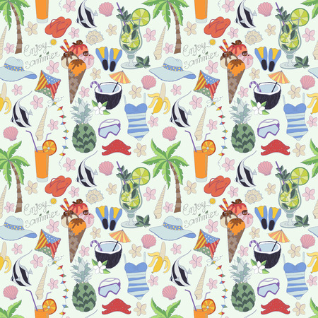 Vector seamless pattern. Pattern ,set of different summer things. Enjoy life concept. Enjoy summer time. Illustration