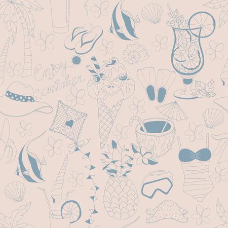 Vektor nahtlose Muster. Muster, Set verschiedener Sommer Sachen. Genießen Sie das Leben-Konzept. Genießen Sie Sommerzeit. Vektorgrafik