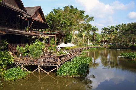 sandakan: Tropical island resort and beautiful jungle around the hotel. Stock Photo