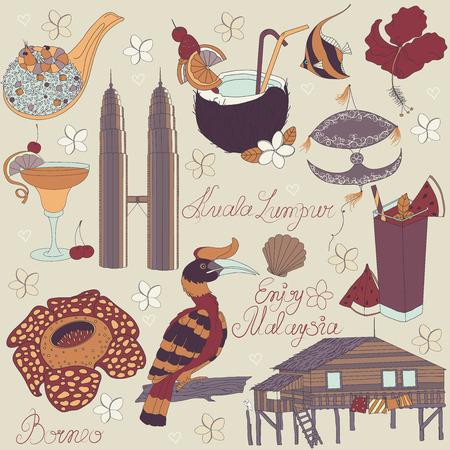 papalote: Vector de las cosas tradicionales en Malasia: comida malaya, cometa tradicional, Torres de Kuala Lumpur, la casa tradicional de la isla de Borneo, la naturaleza de Borneo, con el texto. Malasia fondo.