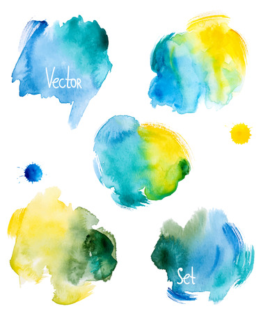 Abstract hand getekend aquarel achtergrond, vector illustratie. Aquarel compositie voor scrapbook elementen. Aquarel vormen op witte achtergrond