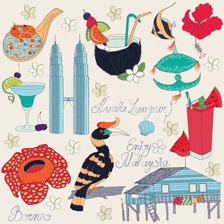 Vector of traditional things in Malaysia: Malaysian food, traditional kite, Towers Kuala Lumpur, traditional house of island Borneo, nature of Borneo, with text. Malaysia background. Vector