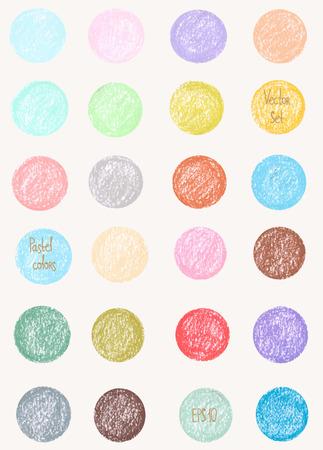 pastel colours: Modelo del vector en colores pastel. Patr�n de formas redondas. Ornamentos pintadas. Conjunto de formas pastel. Gotas colores pastel