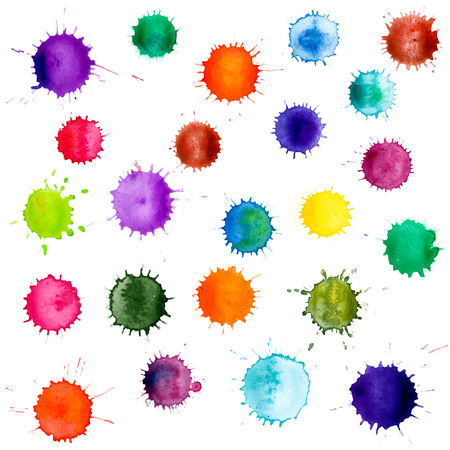 Tinta vector símbolos de la pintura abstracta de colores. Conjunto de acuarelas blobs, aislados en fondo blanco