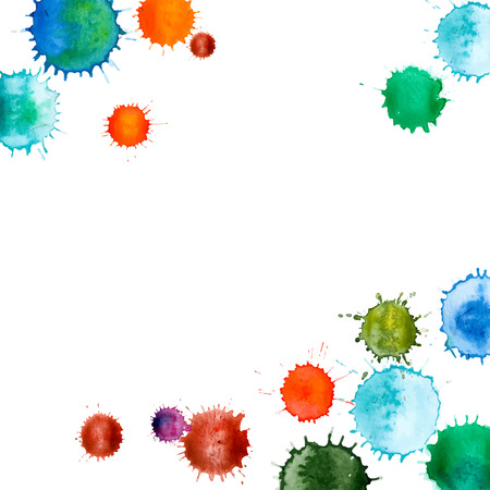 ink drop: Colorful abstract vector ink paint splats. Set of watercolor blobs, isolated on white background. Watercolor frame. Illustration