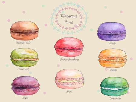 Set van aquarel andere smaak franse bitterkoekjes, de verzameling van de variatie kleurrijke Franse macarons, vector kunst illustratie, geïsoleerd op vintage background.Beautiful vintage kaart.