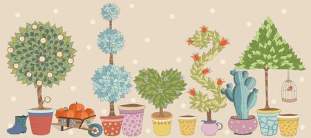 topiary: Topiary Landscape plants collection  vector, set with trees.Texture with fruit tree, flowering tree and other gardening things. Vector pattern with gardening tools. Beautiful card. Gardening time