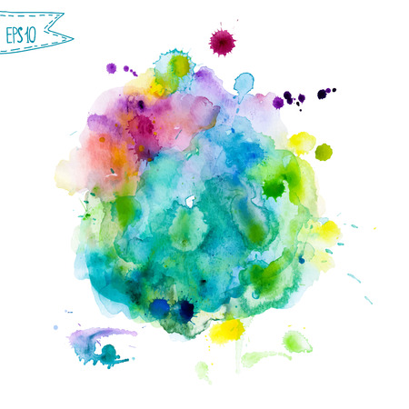 Abstract hand getekend aquarel achtergrond, vector illustratie. Aquarel compositie voor scrapbook elementen. Aquarel vormen op witte achtergrond Stockfoto - 39264616