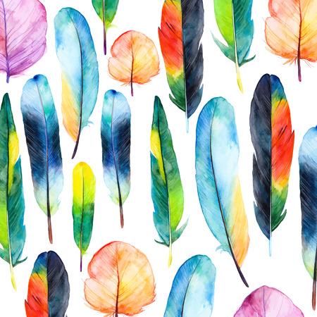 Aquarel veren set. Hand getekende vector illustratie met kleurrijke veren. Patroon met de hand getekende veren. Veer die op een witte achtergrond