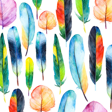 hand with pencil: Watercolor feathers set. Hand drawn vector illustration with colorful feathers. Pattern with hand drawn feathers. Feather isolated on white background Illustration