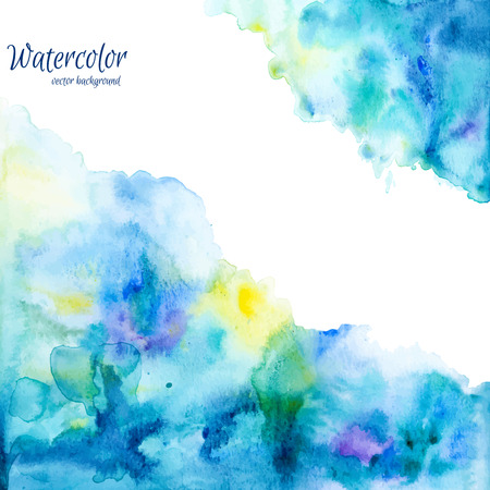 Abstract hand drawn watercolor background,vector illustration. Watercolor composition for scrapbook elements. Watercolor shapes on white background Çizim