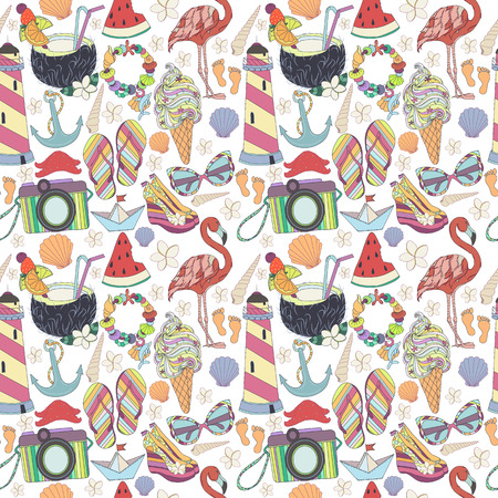 enjoy life: Vector seamless pattern. Pattern, set of different  travel, romantic things, summer, vacation holiday, summer things and clothings. Set of travelling symbols. Summer pattren. Enjoy life concept.